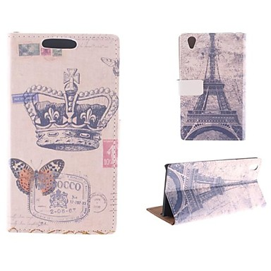 Crown Butterfly Pattern with The Eiffel Tower PU Full Body Case with Card Slot for Sony Xperia Z2