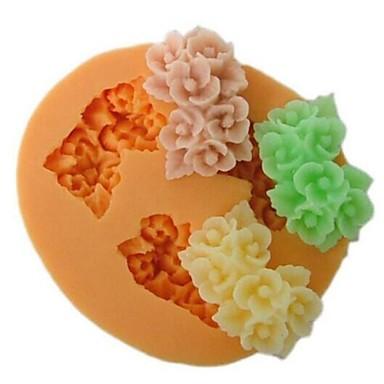 Üç delik çiçek şeklinde fırında fondan kek kalıbı, l6cm * w5.3m * h1.5cm