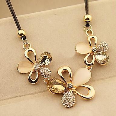 Declaración de la cuerda del color de Champán del collar del Rhinestone de la flor con el diamante
