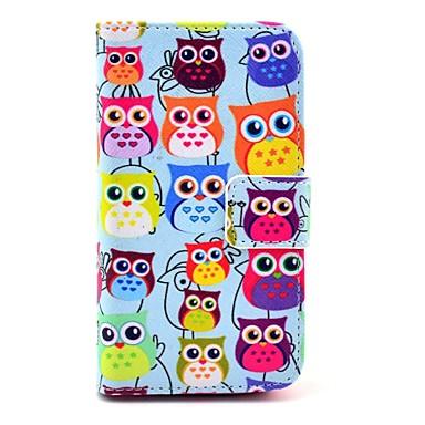 COCO FUN ® Filmi ile Şirin Renkli Baykuş Desen PU Deri Tüm Vücut Kılıf, Stand Ve Stylus iPhone 4/4S için