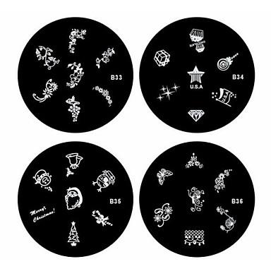 1шт ногтей штамп штамповка изображения шаблон пластины б серии № 33-36 (ассорти шаблон)