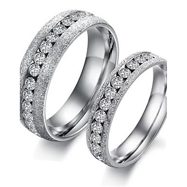Kadın's Titanyum Çelik Çift Yüzükleri - Moda Gümüş / Altın halka Uyumluluk Düğün / Parti / Günlük