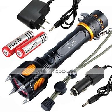 Iluminatoare Lanterne LED / Lanterne  Manuale LED 2400 Lumeni 5 Mod Cree XM-L2 18650Impermeabil / Reîncărcabil / Rezistent la Impact /