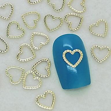 200pcs benzersiz tasarım kalp dantel altın metal dilim tırnak sanat dekorasyon