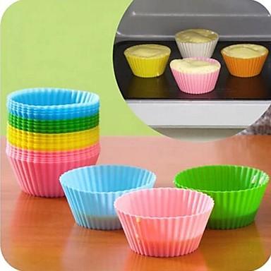 6 adet yumuşak silikon kek kalıbı çörek tutucu yuvarlak cupcake pişirme kupası