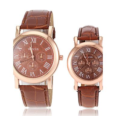 Bărbați Pentru femei Pentru cupluri Ceas de Mână Ceas La Modă Ceas Casual Quartz cald Vânzare PU Bandă Charm Negru Alb Roșu Maro