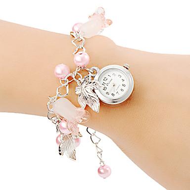 Bayanların Moda Saat Bilezik Saat Quartz Bant İnciler Pembe Pembe