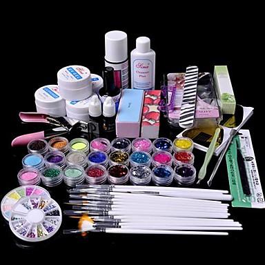 61pcs glitter uv jel temizleyici astar tırnak sanat kiti seti
