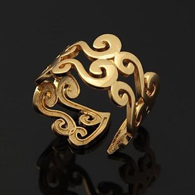 Kadın's Platin Kaplama / Altın Kaplama Çift Yüzükleri / Bildiri Yüzüğü / Band Yüzük - Açık / Ayarlanabilir Gümüş / Altın halka Uyumluluk