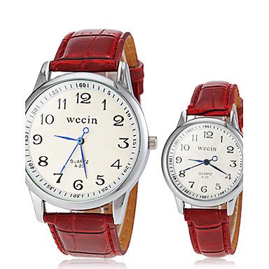 Bărbați Pentru femei Pentru cupluri Ceas de Mână Ceas La Modă Ceas Casual Quartz cald Vânzare PU Bandă Vintage Negru Alb Roșu Maro