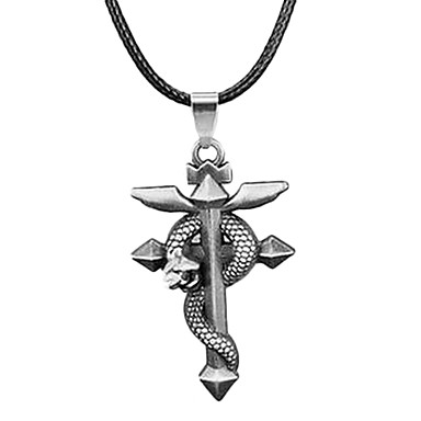 Ethnic Totem (Snake) Black Leather Pendant Necklace(Bronze,Silver) (1 Pc)