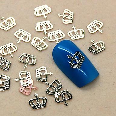 200pcs metal taç tasarım altın dilim tırnak sanat dekorasyon