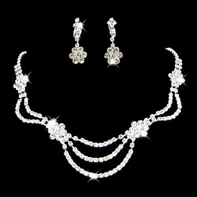 Takı Seti Kadın's Yıldönümü / Düğün / Nişan / Doğumgünü / Hediye / Parti / Özel Anlar Mücevher Setleri Yapay Elmas Yapay Elmas Gümüş