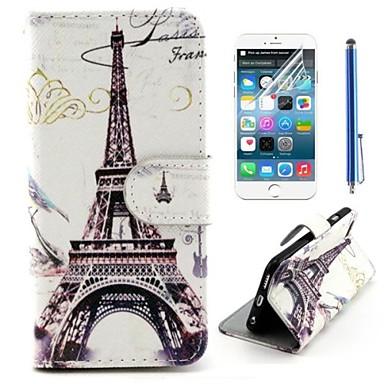 eiffeltoren ontwerp pu leer full body cover met beschermfolie en stylus voor de iPhone 6 plus