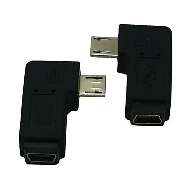 rechts / links schuin 90 graden micro USB-man naar vrouw uitbreiding adapter conventer