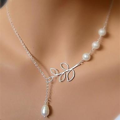 Damen Anhängerketten / Perlenkette - Perle Blattform Einzigartiges Design, Quaste, Europäisch Silber Modische Halsketten Für Hochzeit, Party, Geburtstag
