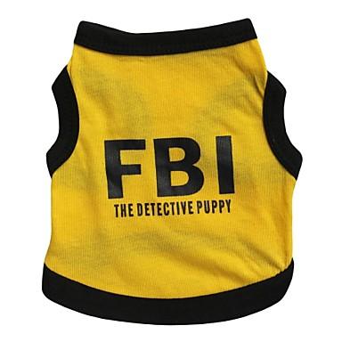 Gato Cachorro Camiseta Camisa Roupas para Cães Carta e Número Polícia / Militar Preto/Amarelo Algodão Ocasiões Especiais Para animais de