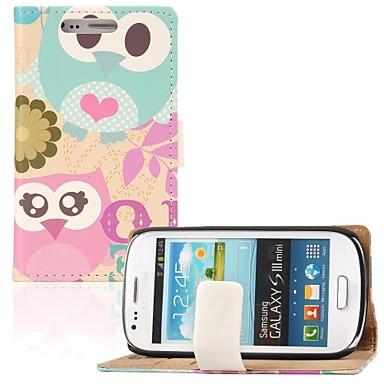 Voor Samsung Galaxy hoesje Kaarthouder / Portemonnee / met standaard / Flip / Patroon hoesje Volledige behuizing hoesje Uil PU-leer
