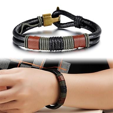 Heren Lederen armbanden Uniek ontwerp Modieus Leder Anderen Sieraden Kerstcadeaus Bruiloft Feest Dagelijks Causaal Kostuum juwelen Zwart