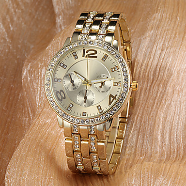 Men's Women's Unisex Quartz Wrist Watch Pocket Watch Japanese Imitation Diamond Alloy Band Sparkle Dress Watch Fashion Gold