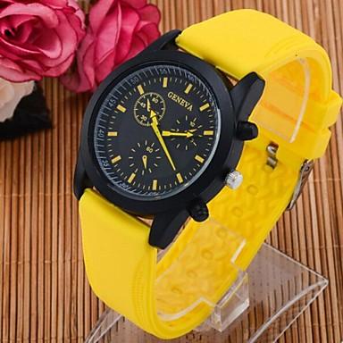 Homens Relógio Esportivo Quartzo Silicone Banda Preta Branco Azul Laranja Rosa Amarelo