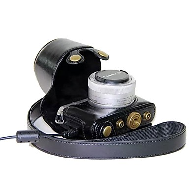 dengpin® camera lederen tas tas hoes met schouderband voor Panasonic Lumix DMC-gm1 met 12-32mm lens