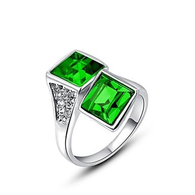 placat nobil și elegant platină stralucitoare pătrat Austria cristal inel cu diamant verde