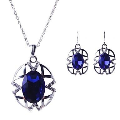 Safir Seturi de bijuterii femei Petrecere European Piatră Preţioasă cercei Bijuterii Rosu / Verde / Albastru Pentru / Cercei / Coliere