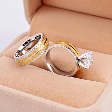 Mulheres Anéis de Casal Aço Titânio Chapeado Dourado Redonda Jóias Casamento Festa Diário Casual
