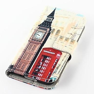 Pentru Samsung Galaxy Carcasă Portofel / Titluar Card / Cu Stand / Întoarce / Model Maska Corp Plin Maska Vizualizare Oraș PU piele