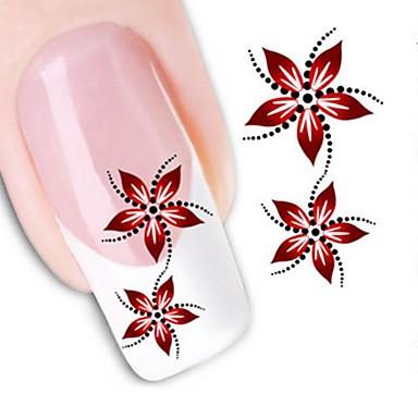 1pcs Transferência de água adesivo Etiquetas de unhas 3D Modelo de estampa de unhas Diário Flor Fashion Alta qualidade
