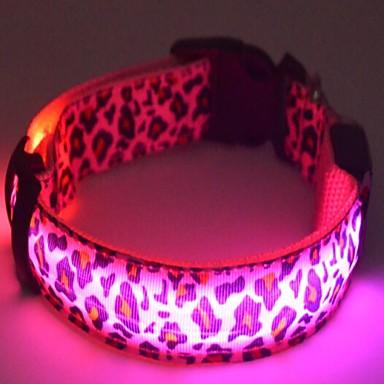 Cachorro Colarinho Luzes LED Baterias incluídas Ajustável Estampa de Leopardo Náilon Branco Amarelo Rosa claro