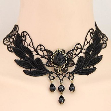 Damen Anhängerketten Halsketten / Anhängerketten - Spitze Tropfen, Blume damas, Retro, Europäisch, Elegant Schwarz Modische Halsketten Schmuck Für Hochzeit, Party, Alltag