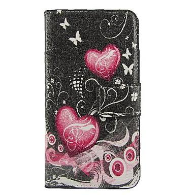 coração-de-rosa de couro pu caso de corpo inteiro com slot para cartão de suporte e para o iPhone 6