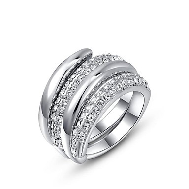 Mulheres Anel de declaração - Cristal, Chapeado Dourado Personalizada 6 / 7 / 8 Prata / Dourado Para Casamento / Festa / Diário / Zircônia Cubica