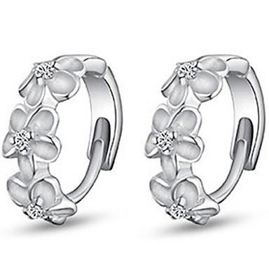 Mulheres Brincos em Argola Estilo simples Moda bijuterias Prata de Lei Imitações de Diamante Formato de Flor Jóias Para Diário Casual