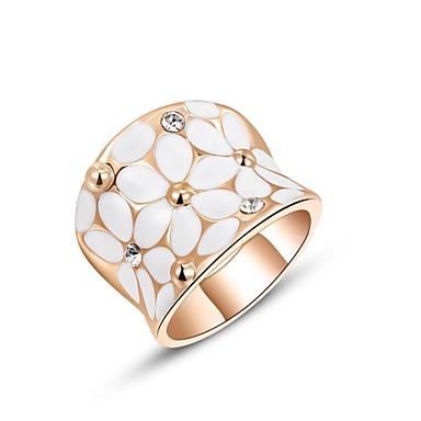 Kadın's Bildiri Yüzüğü - Kristal, Altın Kaplama Prenses Klasik 6 / 7 / 8 Gümüş / Altın Uyumluluk Düğün Parti Parti / Gece / Kübik Zirconia