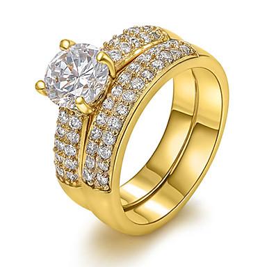 0cf69ea80 نسائي الماس خاتم البيان سوليتير حول سيدات أوروبي بلينغ بلينغ زركون نحاس  تقليد الماس خواتم مجوهرات