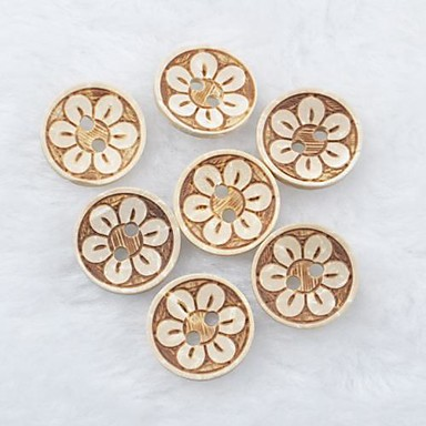 flor padrão de recados scraft costura botões de casca de coco diy (10 peças)