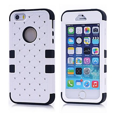 2014 nieuwe 3-in-1 combo hybride case glitter / bling bezaaid diamanten dubbele laag pc&siliconen beschermhoes voor de iPhone 5 / 5s