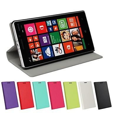 Voor Nokia hoesje met standaard / Flip hoesje Volledige behuizing hoesje Effen kleur Hard PU-leer Nokia Nokia Lumia 930