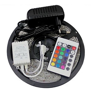 5m Flexible LED-Leuchtstreifen / Lichtsets / Leuchtbänder RGB LEDs 5050 SMD RGB Fernbedienungskontrolle / Schneidbar / Abblendbar 12 V / Verbindbar / Selbstklebend / Farbwechsel