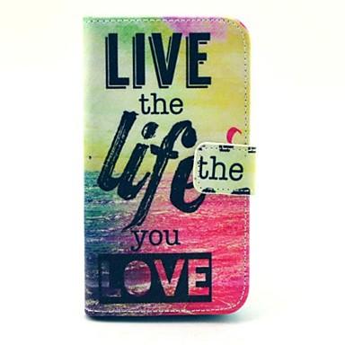 leef het leven je liefde patroon pu leahter full body hoes met standaard en kaartsleuf voor de Samsung Galaxy Core 2 g355h / g3556d