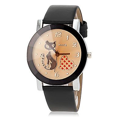 Γυναικεία Μοδάτο Ρολόι Χαλαζίας Καθημερινό Ρολόι PU Μπάντα Heart Shape Κινούμενα σχέδια Μαύρο Πορτοκαλί