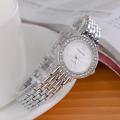 Dames Modieus horloge Gesimuleerd Diamant Horloge Kwarts imitatie Diamond Legering Band Glitter Zilver