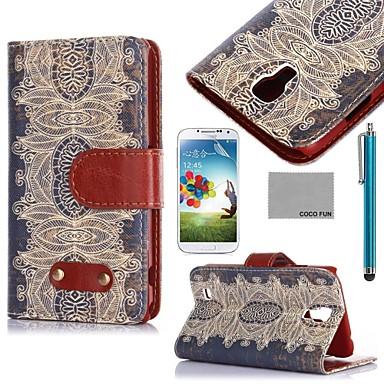 Para Carteira / Porta-Cartão / Com Suporte / Flip / Estampada Capinha Corpo Inteiro Capinha Azulejos Rígida Couro PU Samsung S4