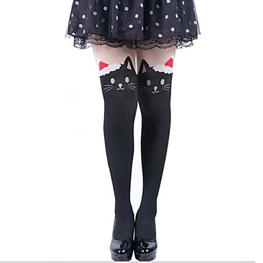 Șosete/ciorapi Lolita dulce lolita Prințesă Negru Lolita Accesorii Șosete Imprimeu Animale Pentru Catifea