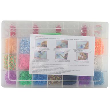 diy bilezik için gökkuşağı renkli moda tezgah kiti (2100pcs bantları + 4 paket klipleri + 1 tezgah kartı + 3 kanca)