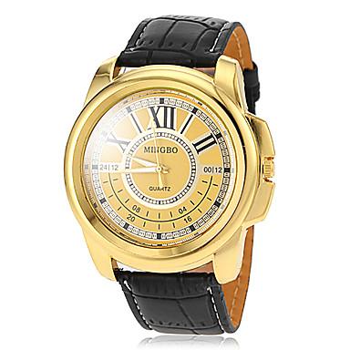 Masculino Relógio Elegante Quartzo PU Banda Preta Marrom Dourado Branco Preto