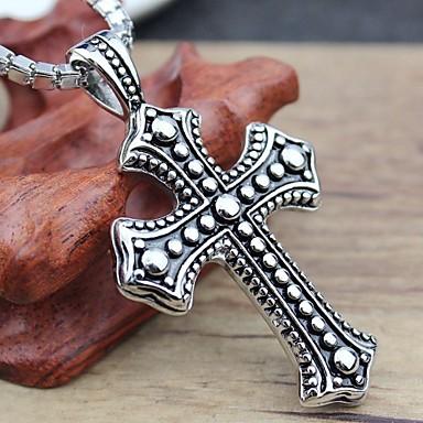 Κολιέ Κρεμαστά Κολιέ Κοσμήματα Πάρτι Καθημερινά Causal Cross Shape Τιτάνιο Ατσάλι Άντρες Δώρο Ασημί